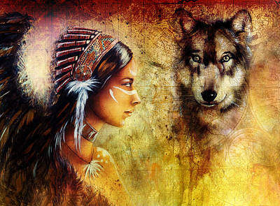 Young Indian Woman Wearing  With  Wolf And Feather Headdress Poster by Jozef Klopacka