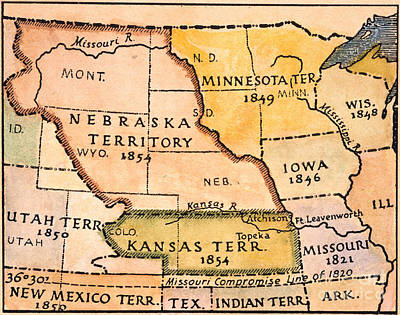 Kansas-nebraska Map, 1854 Poster