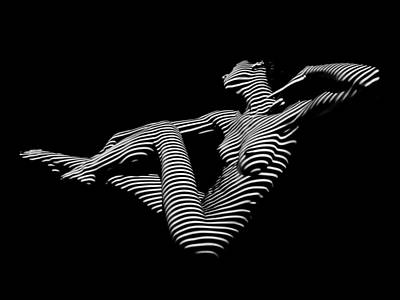 0043-dja Bw Zebra Woman Striped Girl Topographic Abstract Sensual Body Art Poster