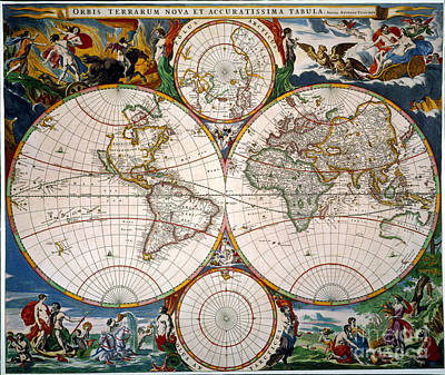 World Map, 17th Century Poster by Granger