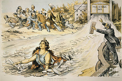 Free Silver Cartoon, 1890 Poster by Granger