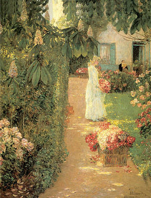 Gathering Flowers In A French Garden Poster by Childe Hassam