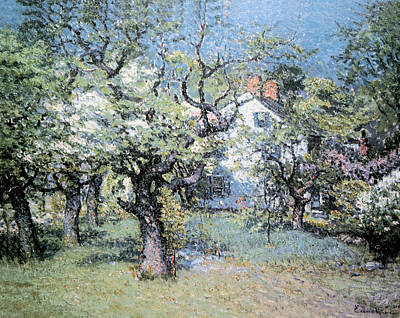Through The Orchard Poster by John Enneking
