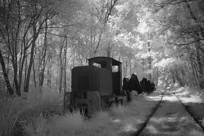Locomotive With Wagons In Infrared Light In The Forest In Netherlands Poster