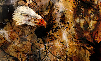 Wolf And Eagle Color Painting, Feathers Background, Multicolor Collage Illustration. White Lightning Poster by Jozef Klopacka