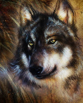 Wolf Painting Color  Background On Paper Multicolor Illustration Poster by Jozef Klopacka