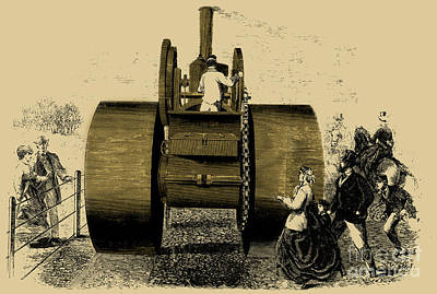 1866 Steam Road Roller Poster