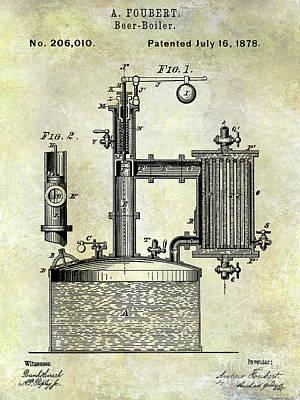 1878 Beer Boiler Patent Poster by Jon Neidert