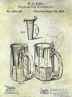 1879 Beer Mug Patent Poster by Jon Neidert