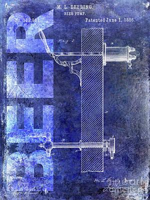 1886 Beer Pump Patent Blue Poster by Jon Neidert