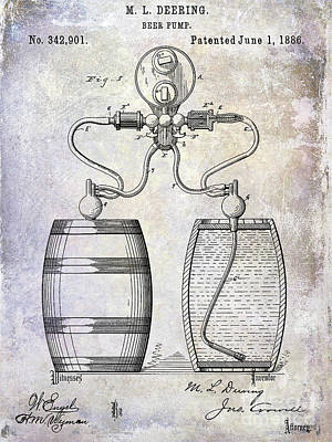 1886 Beer Pump Patent Poster by Jon Neidert