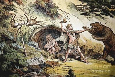 1888 Caveman Vs Pleistocene Cave Bear B Poster by Paul D. Stewart