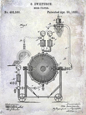 1889 Beer Filter Patent Poster by Jon Neidert