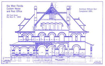 1891 Key West Custom House Blueprint Poster by Jon Neidert
