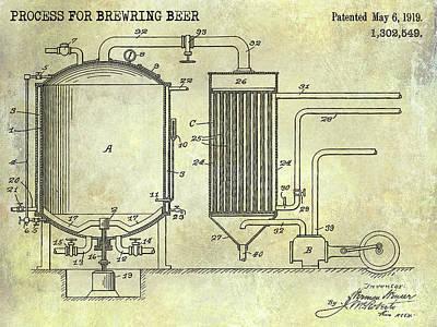 1893 Beer Manufacturing Patent  Poster by Jon Neidert