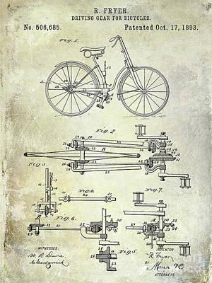 1893 Bicycle Patent Poster by Jon Neidert