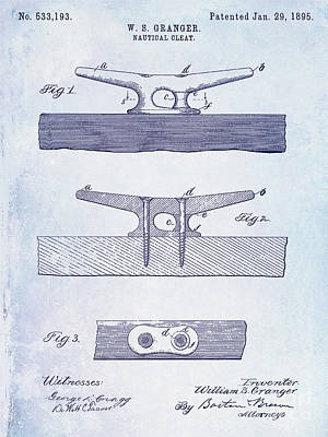 1895 Nautical Cleat Patent Poster
