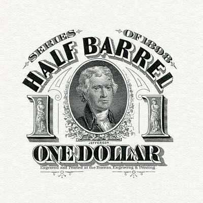 1898 Half Beer Barrel Tax Stamp Poster