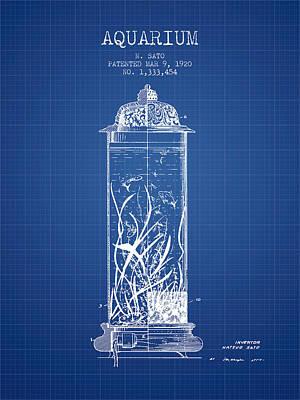 1902 Aquarium Patent - Blueprint Poster by Aged Pixel