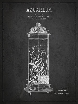 1902 Aquarium Patent - Charcoal Poster by Aged Pixel