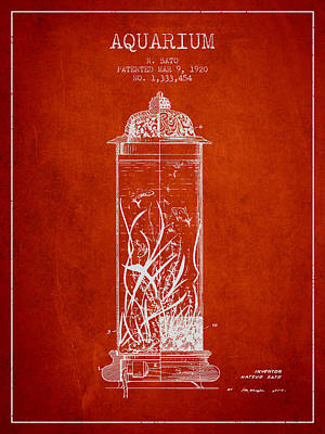 1902 Aquarium Patent - Red Poster by Aged Pixel