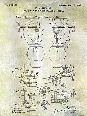 1902 Watchmakers Lathes Patent Poster by Jon Neidert