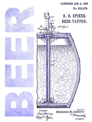 1907 Beer Tapper Patent Blueprint Poster by Jon Neidert