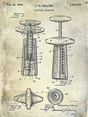 1907 Corkscrew Patent Blue Poster by Jon Neidert