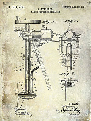 1911 Outboard Boat Motor Patent Poster by Jon Neidert