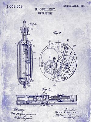 1913 Pocket Watch Patent Blueprint Poster by Jon Neidert