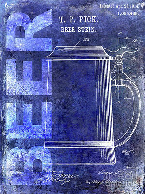 1914 Beer Stein Patent Blue Poster
