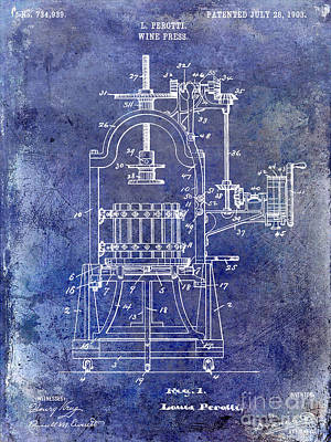 1922 Wine Press Patent Blue Poster by Jon Neidert