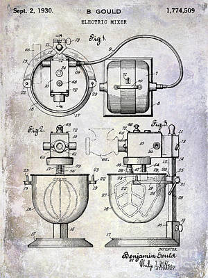 1930 Electric Mixer Patent Poster