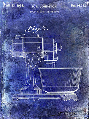 1935 Food Mixing Apparatus Patent Blue Poster