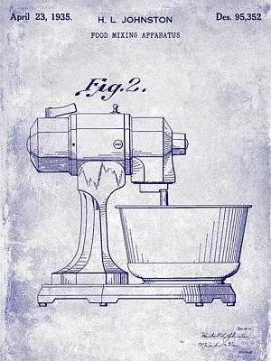 1935 Food Mixing Apparatus Patent Blueprint Poster