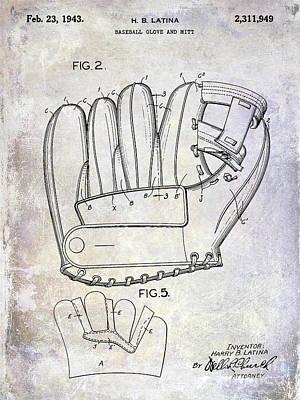 1943 Baseball Glove Patent Poster by Jon Neidert