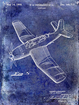 1946 Airplane Patent Blue Poster by Jon Neidert
