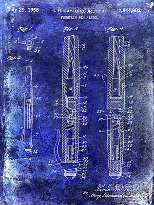 1958 Fountain Pen Pistol Patent Poster