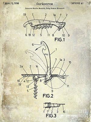 1998 Corkscrew Patent Blue Poster by Jon Neidert