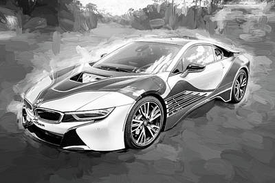 Poster featuring the photograph 2015 Bmw I8 Hybrid Sports Car Bw by Rich Franco
