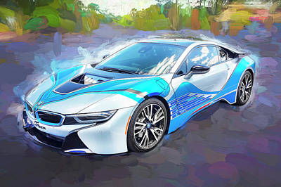 Poster featuring the photograph 2015 Bmw I8 Hybrid Sports Car by Rich Franco