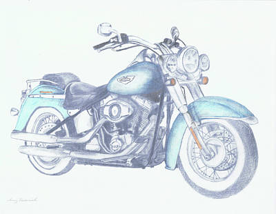 Poster featuring the drawing 2015 Softail by Terry Frederick