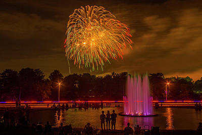 4th Of July Fireworks In Forest Park Poster by Garry McMichael
