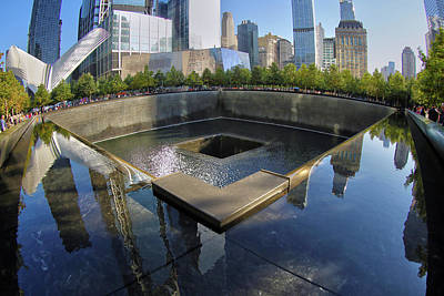 Poster featuring the photograph 9/11 Memorial by Mitch Cat