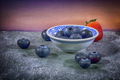 A Bowl Of Blueberries Poster by Robert Anastasi