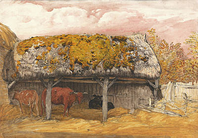 A Cow Lodge With A Mossy Roof Poster