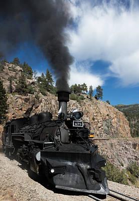 A Durango And Silverton Narrow Gauge Scenic Railroad Train Chugs Through The San Juan Mountains Poster by Carol M Highsmith