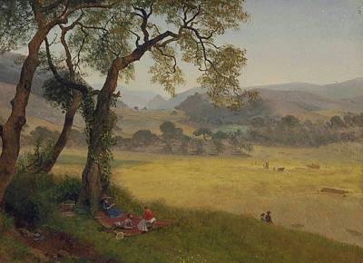 A Golden Summer Day Near Oakland Poster by Albert Bierstadt