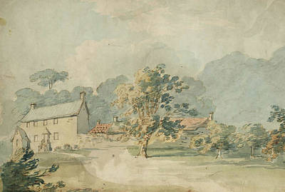 A House With Outbuildings In A Wooded Landscape Poster