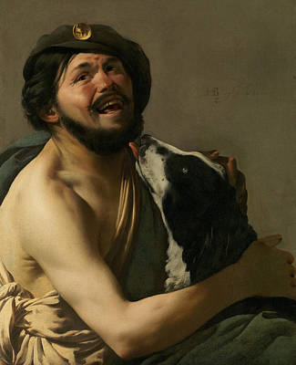 A Laughing Bravo With His Dog Poster by Hendrick ter Brugghen
